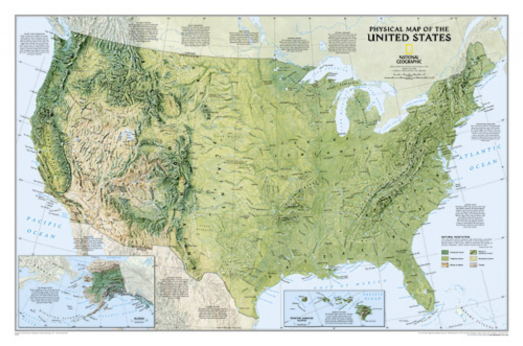 Usa, Physical Wall Map, 38X25 : National Geographic Society throughout Geographic United States Map