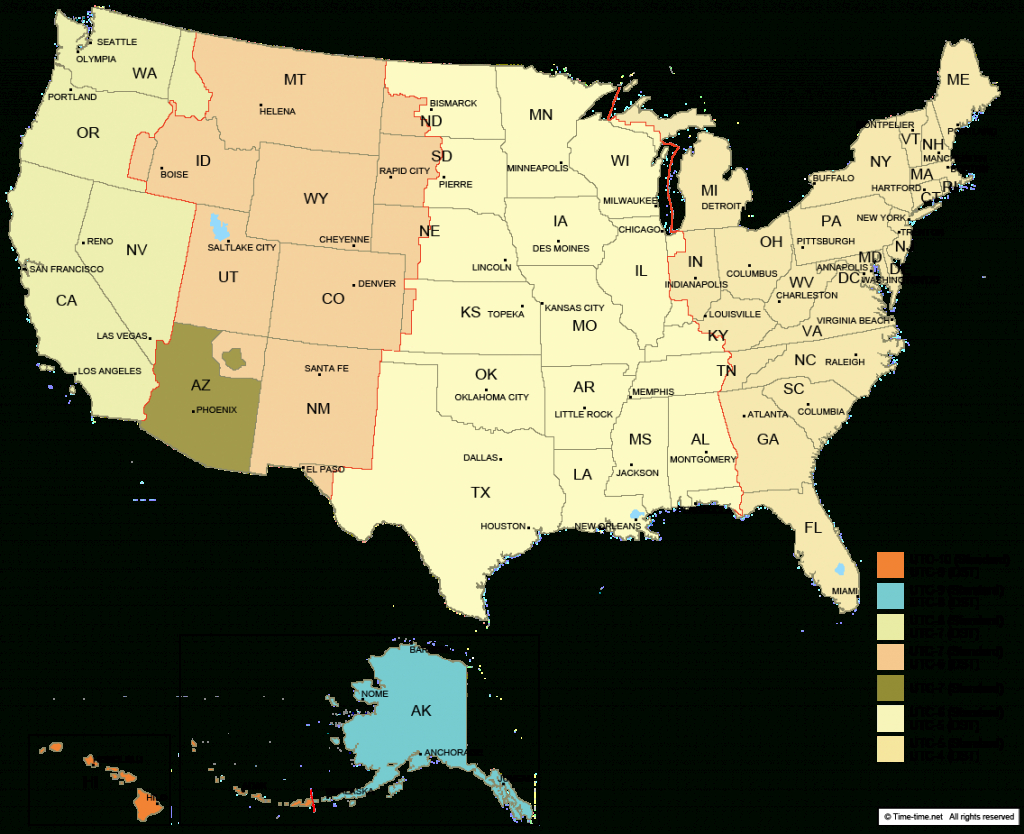 Usa Time Zone Map - With States - With Cities - With Clock - With with United States Of America Time Zone Map