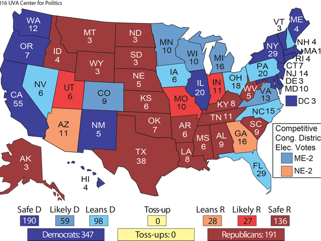 Uva Electoral Map Shows Hillary Clinton Winning The Presidency for States Hillary Won Map
