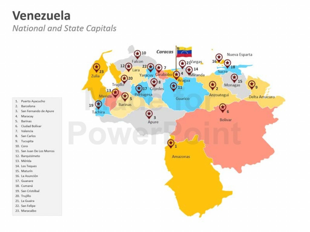 Venezuela Map: Premium Powerpoint Editable Slides with regard to Map Of Venezuela States And Cities