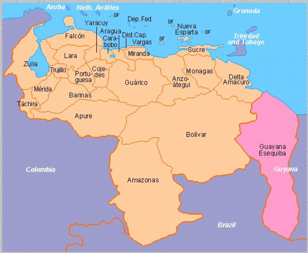 Venezuela States Map And Travel Information | Download Free regarding Map Of Venezuela States And Cities