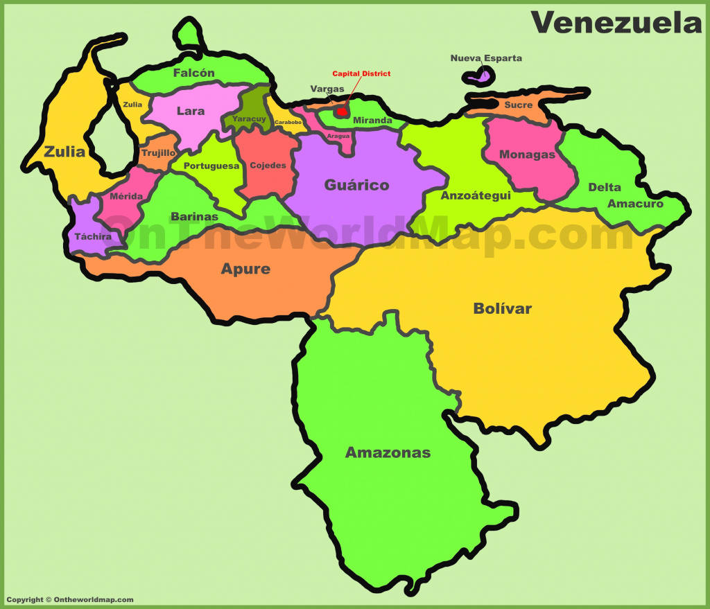 Venezuela States Map within Map Of Venezuela States And Cities