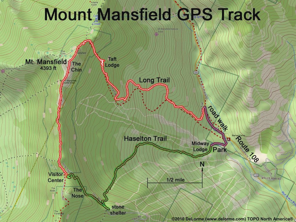 Vermont Mountains & Hiking with Underhill State Park Trail Map