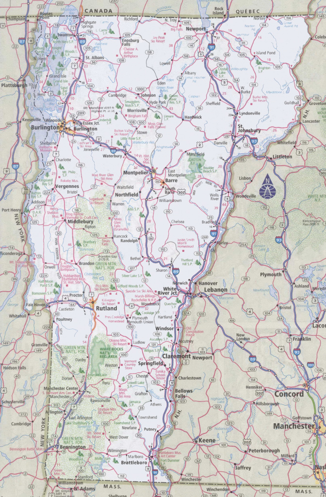 Vermont Road Map in Printable State Road Maps