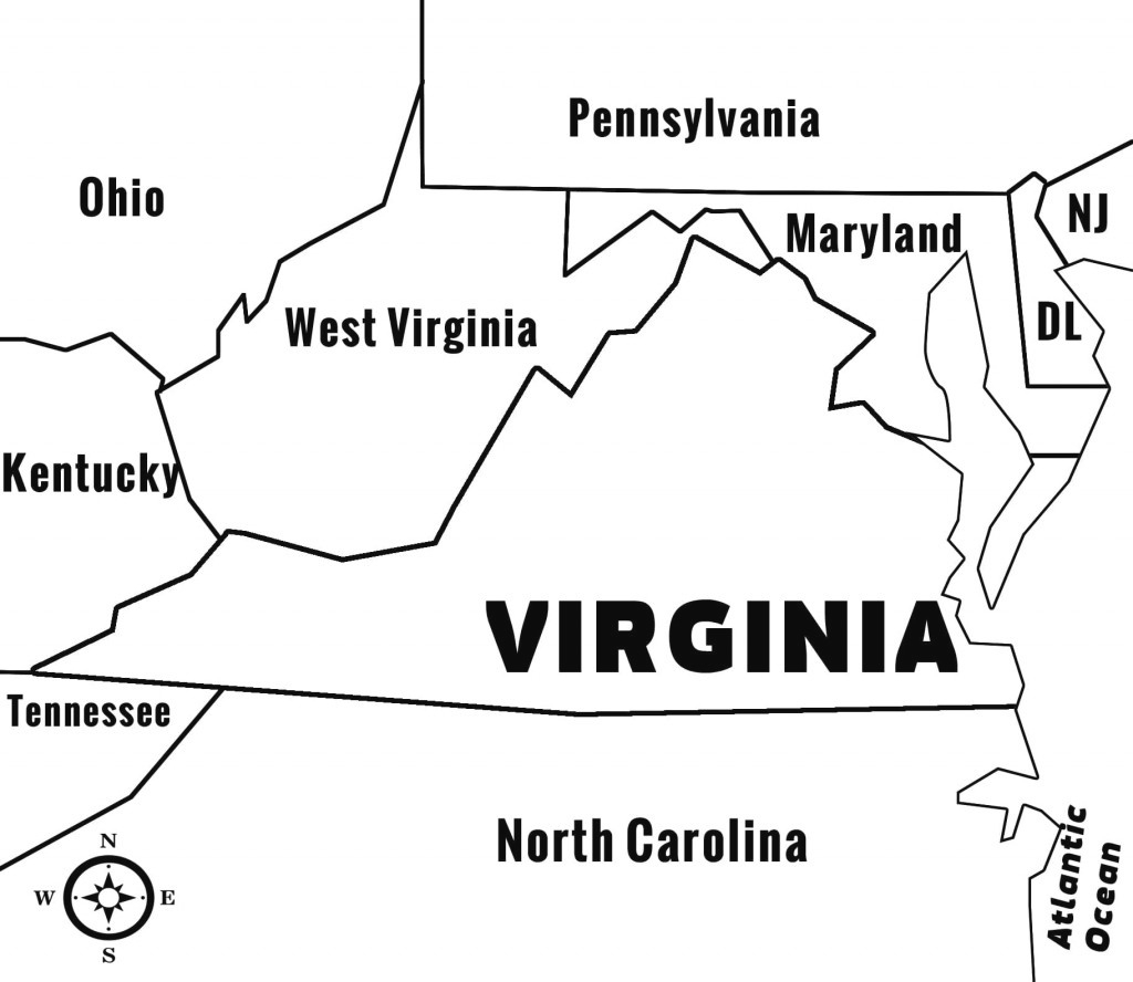Virginia Bordering States Map – Bnhspine within Map Of Virginia And Surrounding States