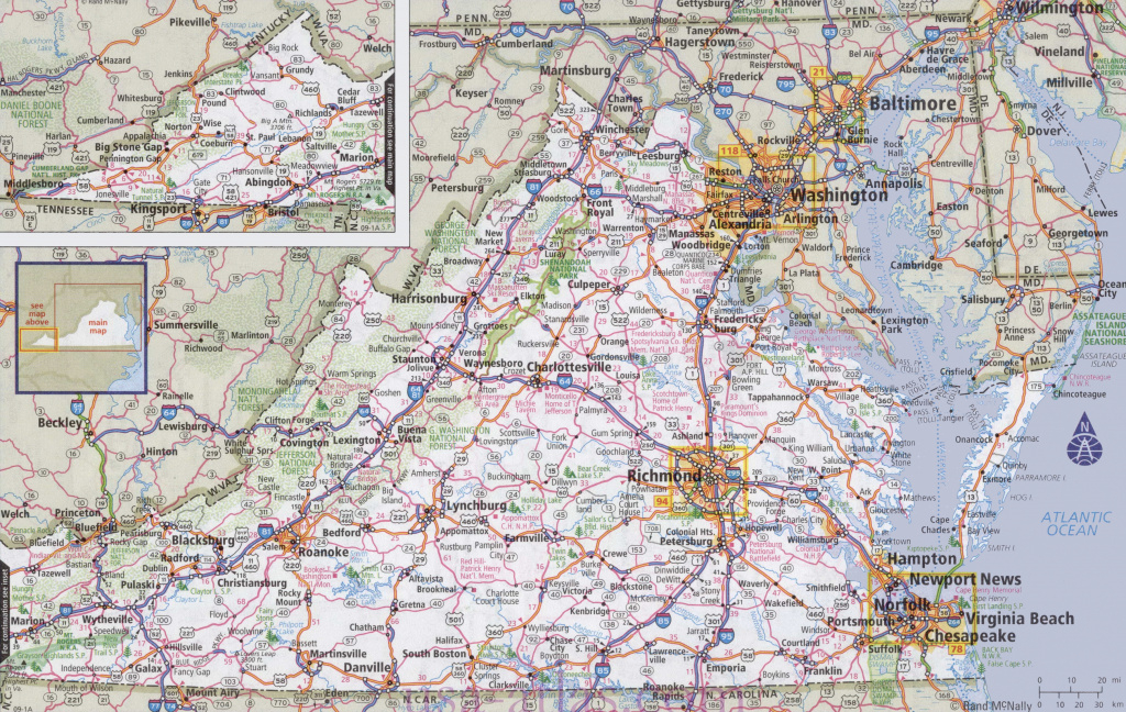Virginia Road Map with regard to State Road Maps