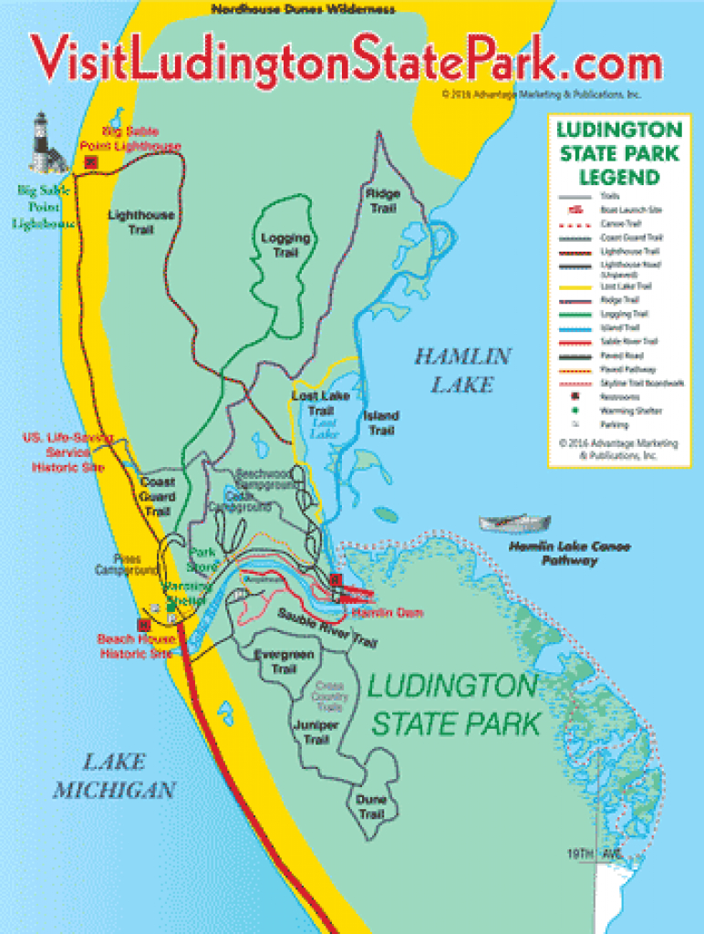 Visit Ludington - Ludington State Park Trail Guide, Michigan pertaining to Michigan State Park Campgrounds Map