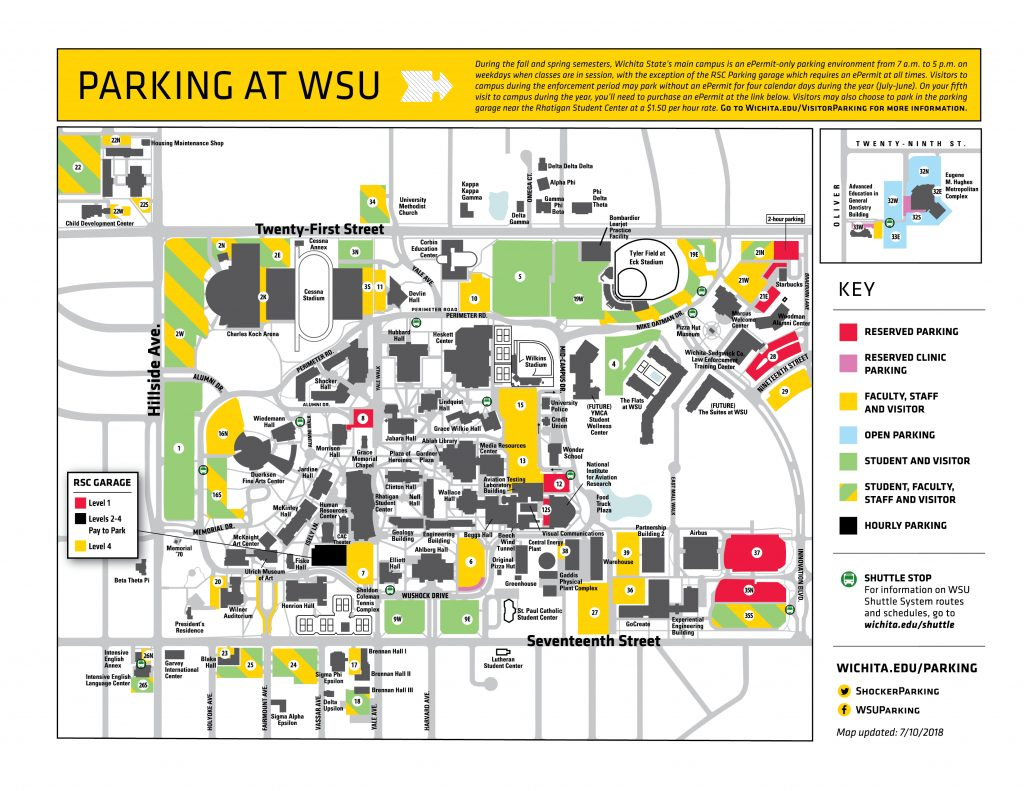 Visitor Parking At Wsu Regarding Wichita State University Campus Map Pdf