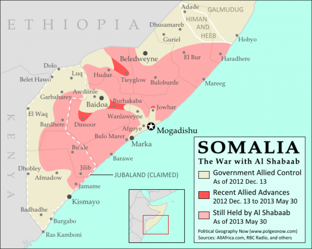 War In Somalia: Map Of Al Shabaab Control (June 2013) - Political inside Jubaland State Map