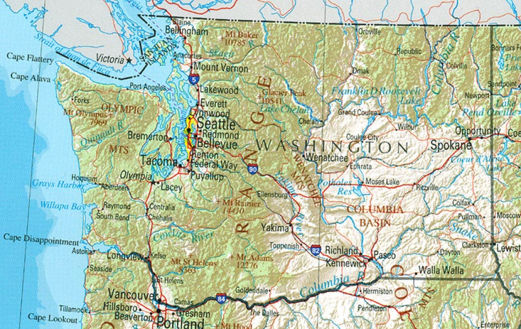 Washington Maps - Perry-Castañeda Map Collection - Ut Library Online in Physical Map Of Washington State