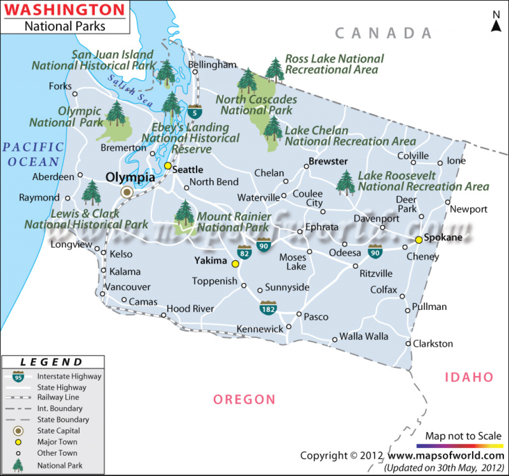 Washington National Parks Map inside Washington State National Parks Map