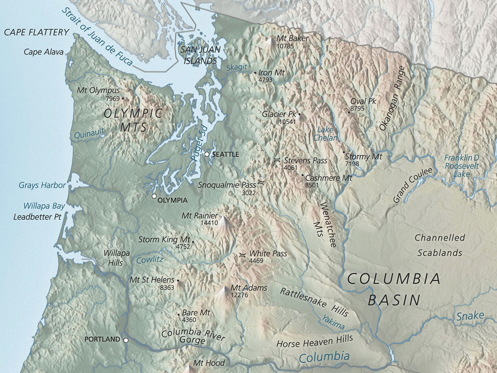 Washington Physical Map • Mapsof regarding Physical Map Of Washington State