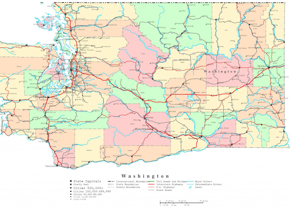 Washington Printable Map regarding Printable Map Of Washington State
