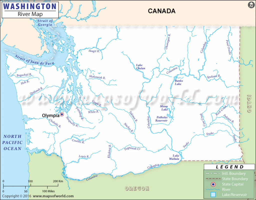 Washington Rivers Map, Rivers In Washington pertaining to Washington State Rivers Map
