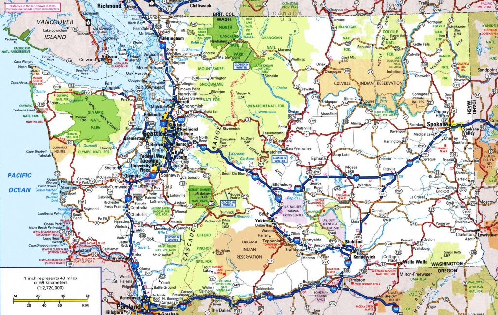 Washington Road Map Inside Printable Map Of Washington State