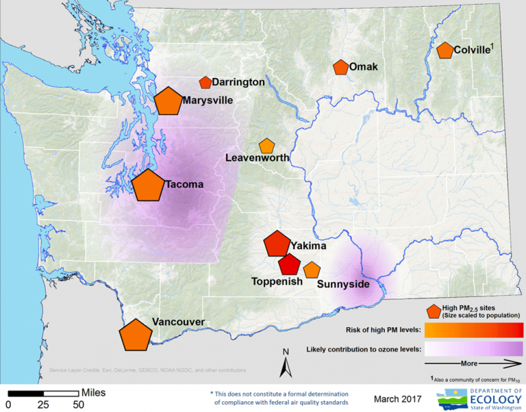 Washington State Department Of Ecology - Areas Meeting And Not in Washington State Air Quality Map