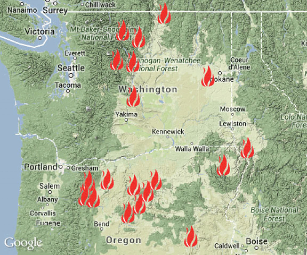 Washington State Fire Map | Map with Fires In Washington State 2017 Map