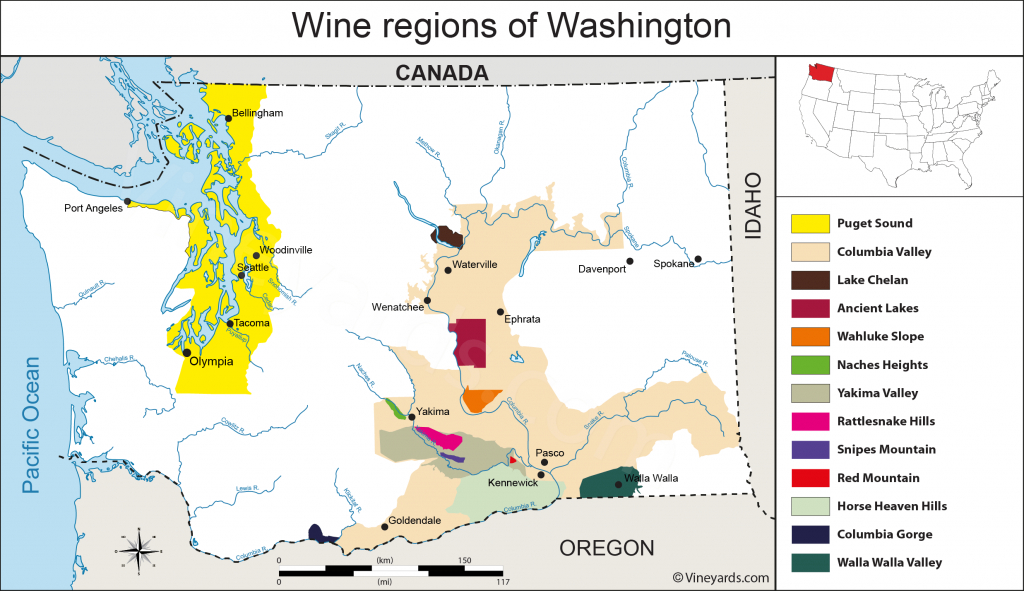 Washington State Map Of Vineyards Wine Regions throughout Washington State Wineries Map