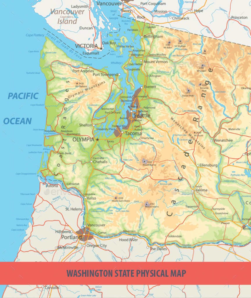 Washington State Physical Mapcartarium | Graphicriver throughout Physical Map Of Washington State