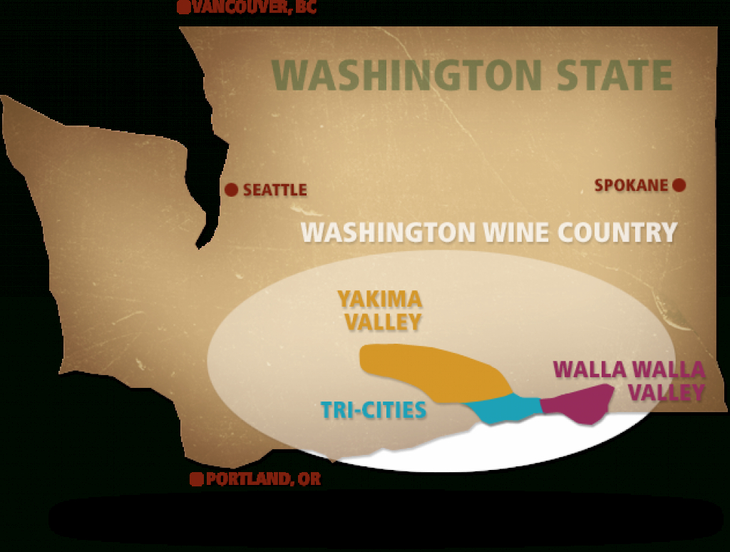 Washington Wine Country - Tri-Cities, Yakima Valley, Walla Walla Valley regarding Washington State Wineries Map