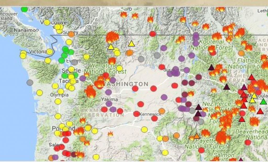 Washington's Air Quality Map Crashed This Morning Because Of High for Map Of The Washington State Fires