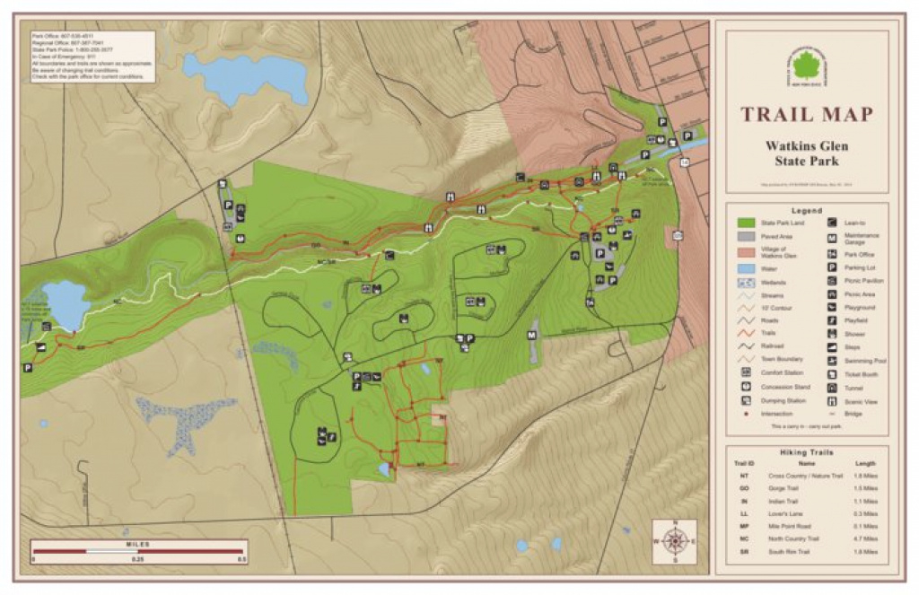 Watkins Glen State Park Trail Map - New York State Parks - Avenza Maps inside Green Lakes State Park Trail Map