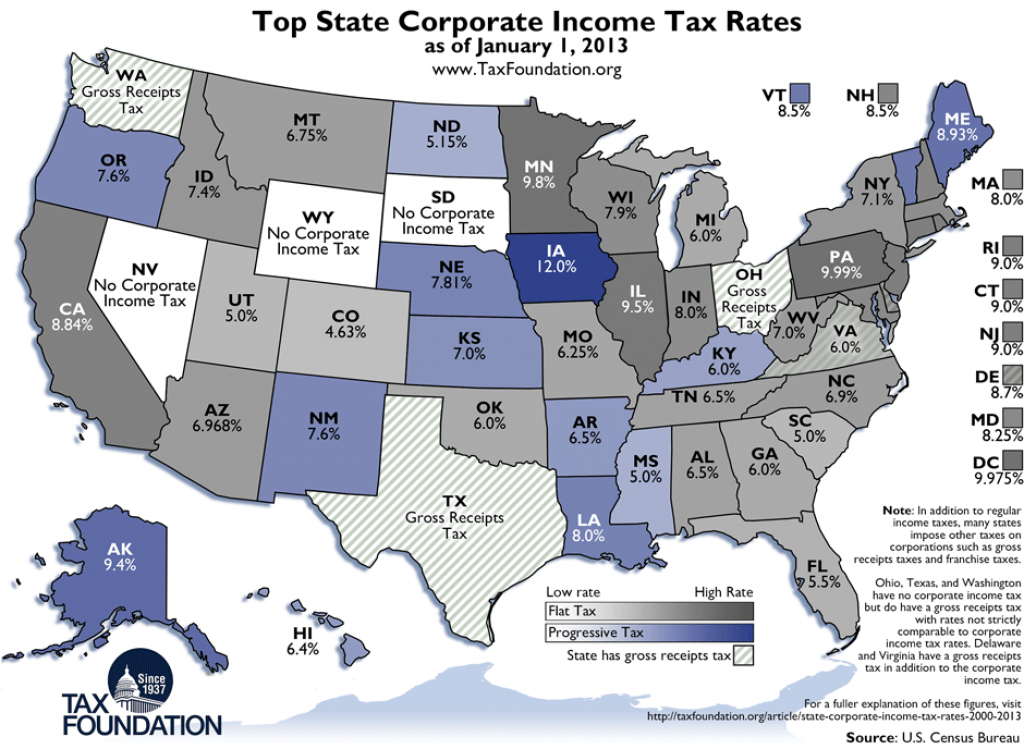 Weekly Map: Top State Corporate Income Tax Rates - Tax Foundation intended for States With No Income Tax Map