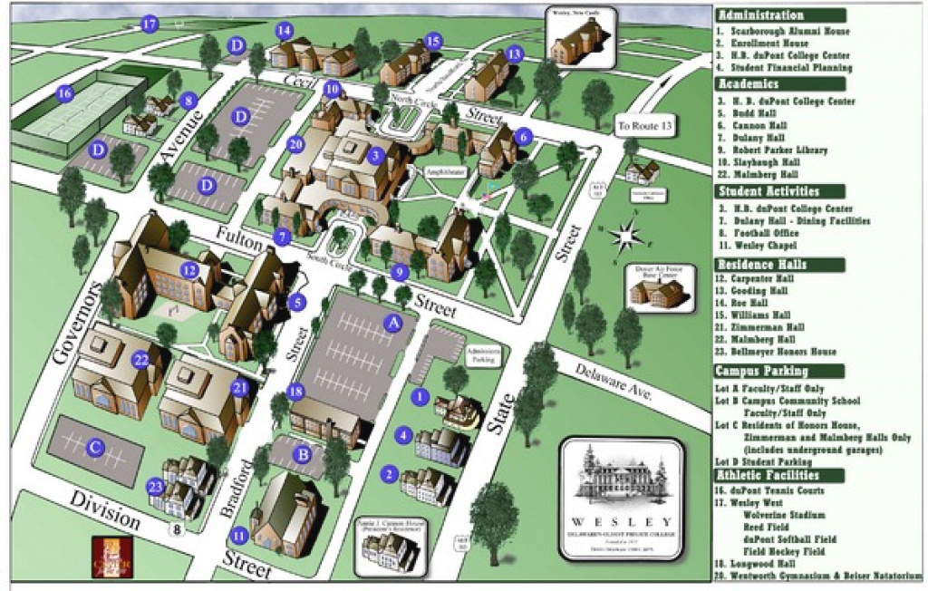Wesley College Campus Map - 120 North State Street Dover Delaware pertaining to Delaware State University Campus Map