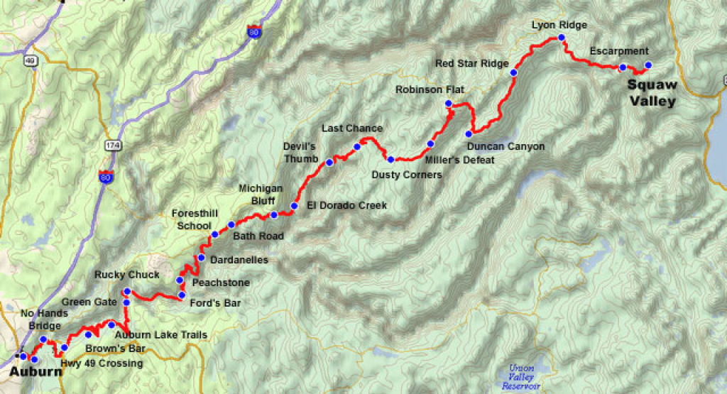 Western States 100-Mile Endurance Run Course And Map throughout Western States 100 Course Map
