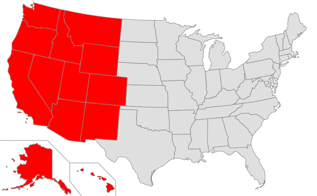 Western United States - Wikipedia intended for United States Map Divided Into 5 Regions