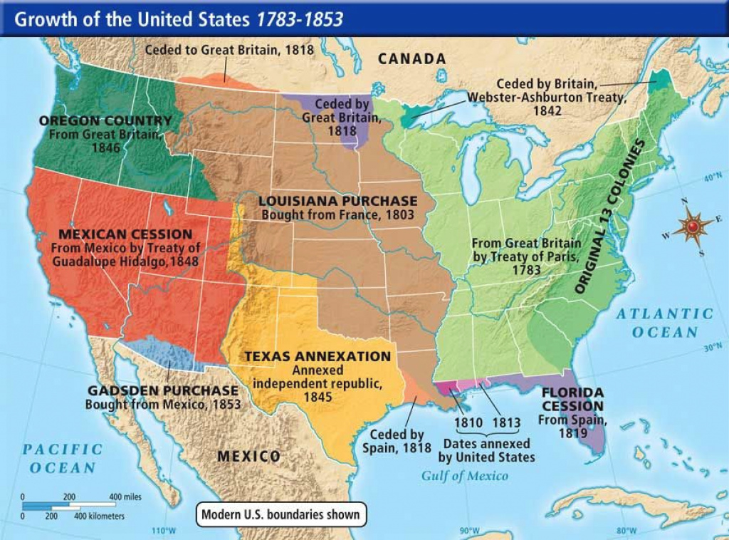 Westward Expansion Map Of The U.s.a. | This Is A Map Of The Growth intended for Growth Of The United States To 1853 Map