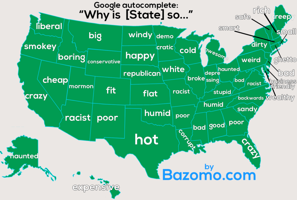 What Each State Asks Google? [Map] (Surprising!) regarding Is State Map