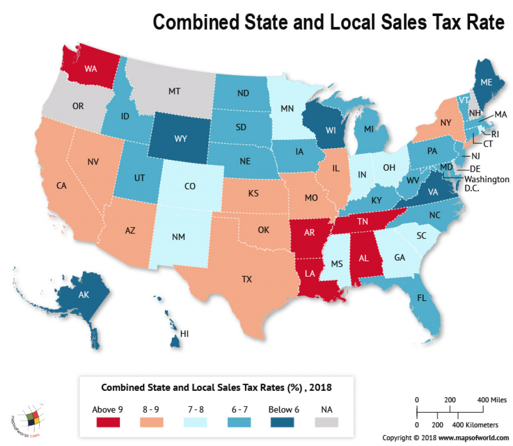 What Is The Combined State And Local Sales Tax Rate In Each Us State pertaining to Sales Tax By State Map