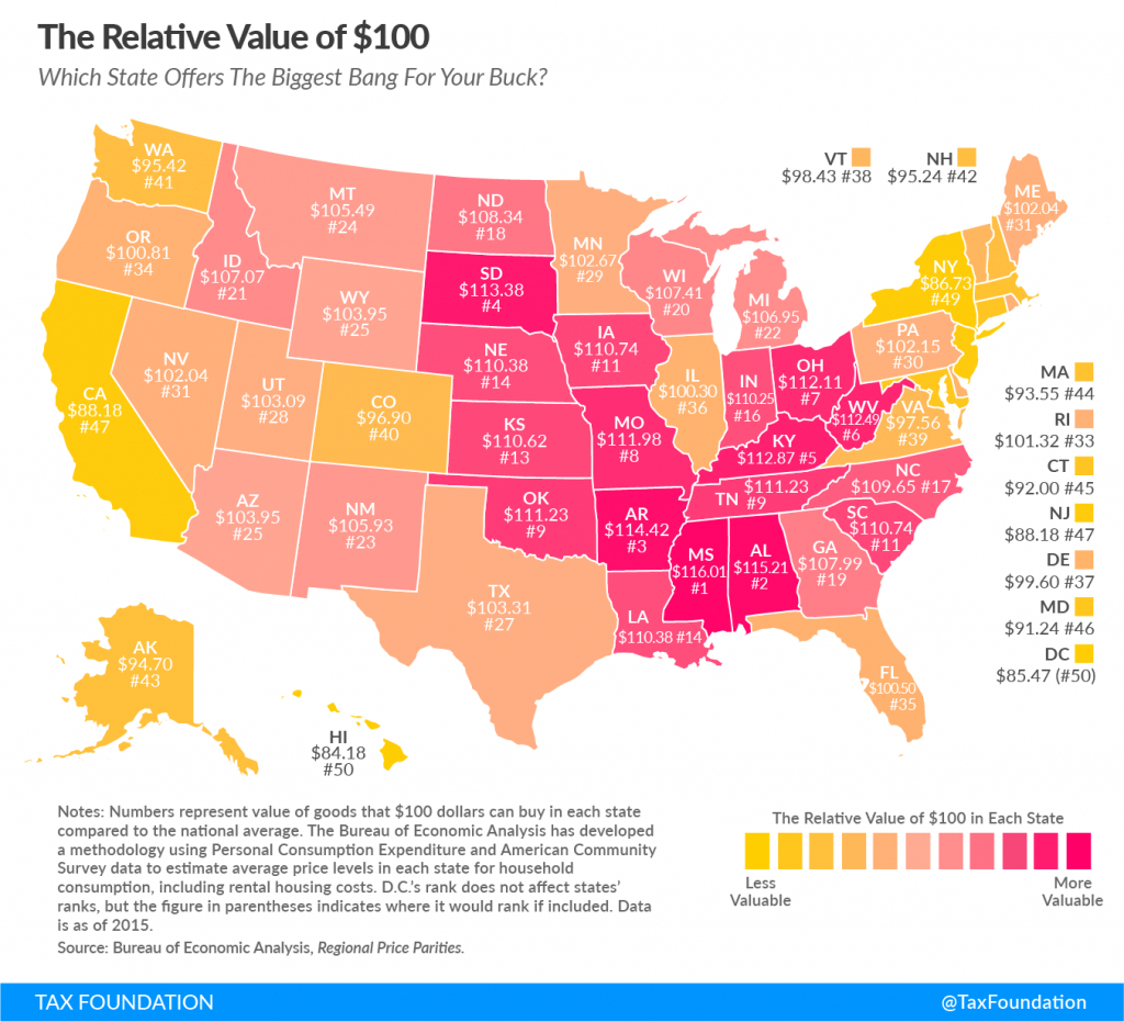 What Is The Real Value Of $100 In Your State? - Tax Foundation with Cost Of Living By State Map