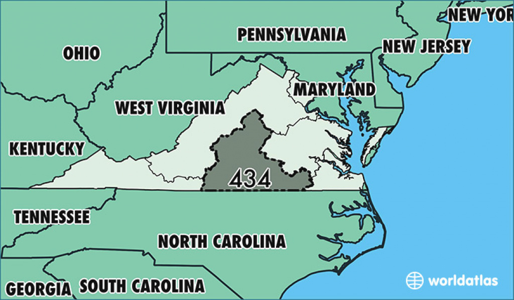 Where Is Area Code 434 / Map Of Area Code 434 / Lynchburg, Va Area Code regarding Map Of Virginia And Surrounding States