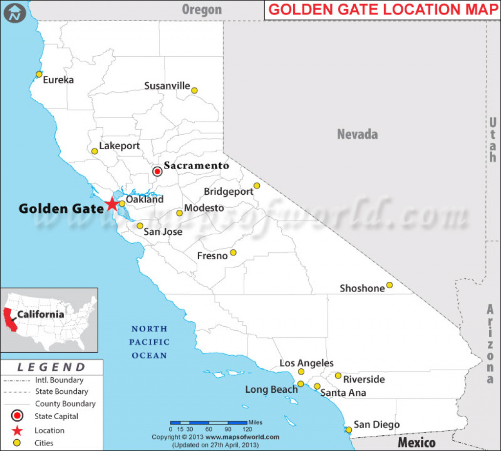 Where Is Golden Gate Located In California, Usa pertaining to Golden State Map Location