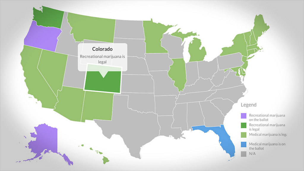 Where Pot Is Legal - Cnnmoney intended for States Where Weed Is Legal Map