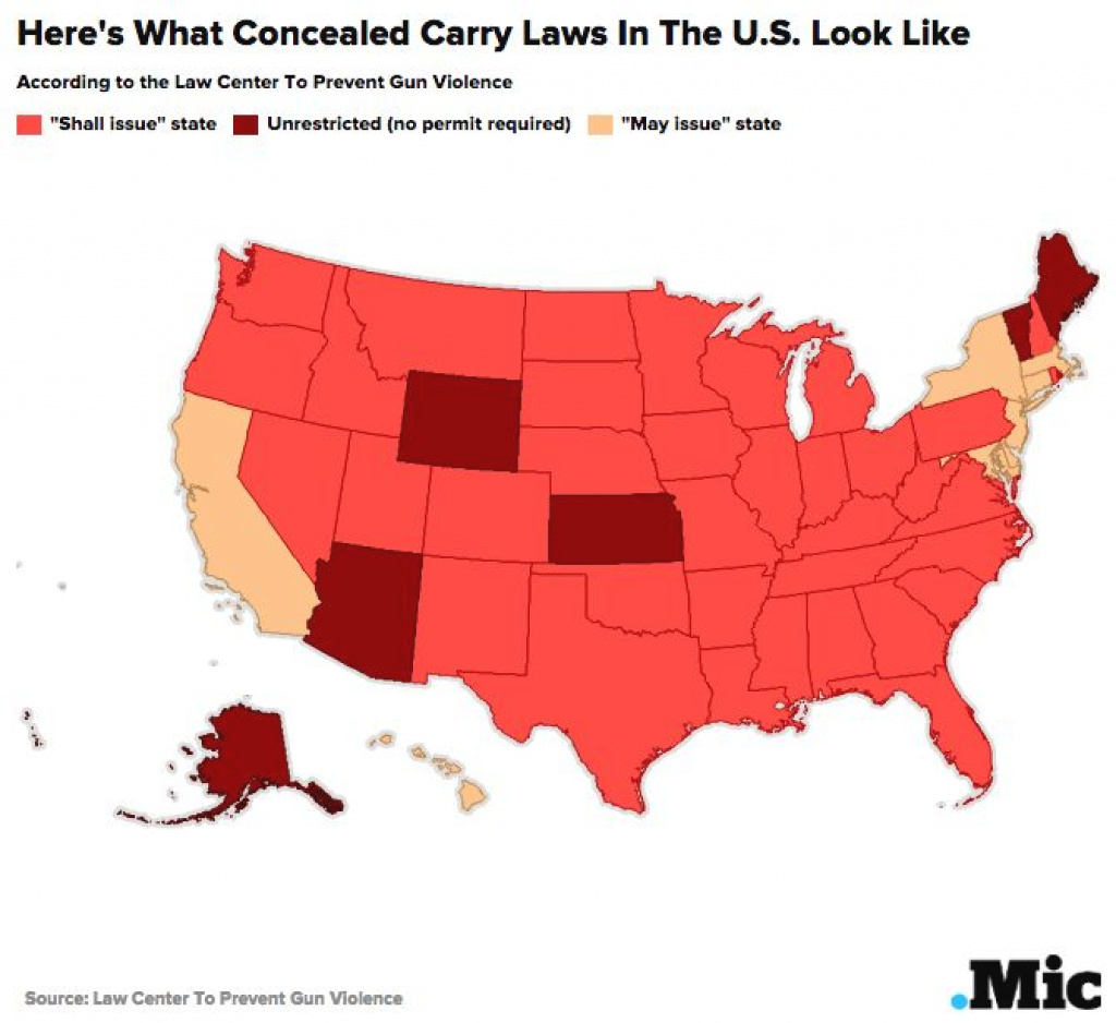 Which States Allow Concealed Carry? This Map Shows Who Can Legally in Open Carry States Map 2017