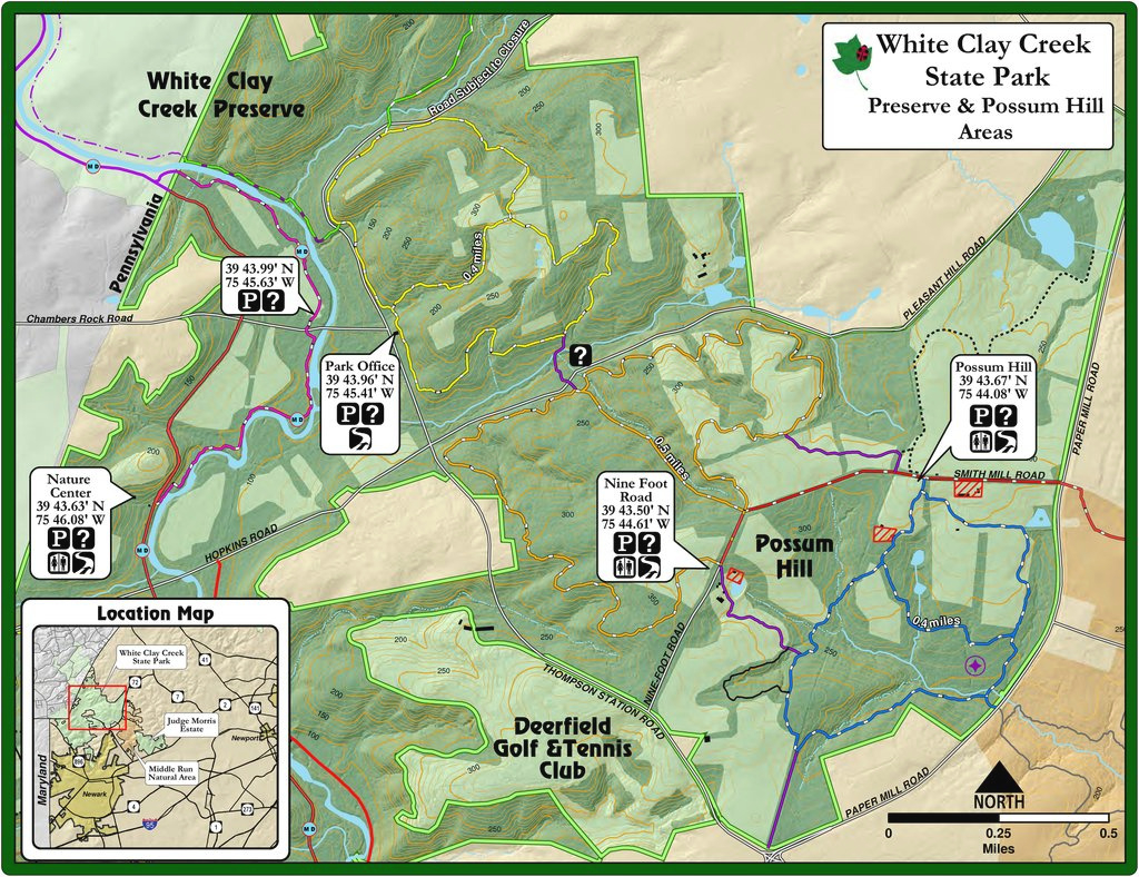 White Clay Creek State Park - Maplets for White Clay Creek State Park Trail Map