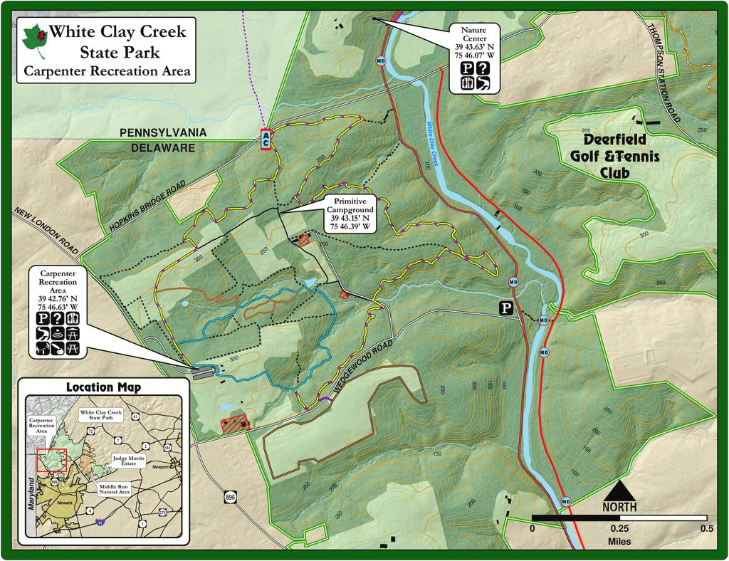 White Clay Creek State Park - Maplets intended for White Clay Creek State Park Trail Map