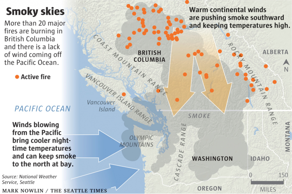 Why So Much Smoke In Seattle From B.c. Wildfires? 'nature's Air inside Smoke Map Washington State