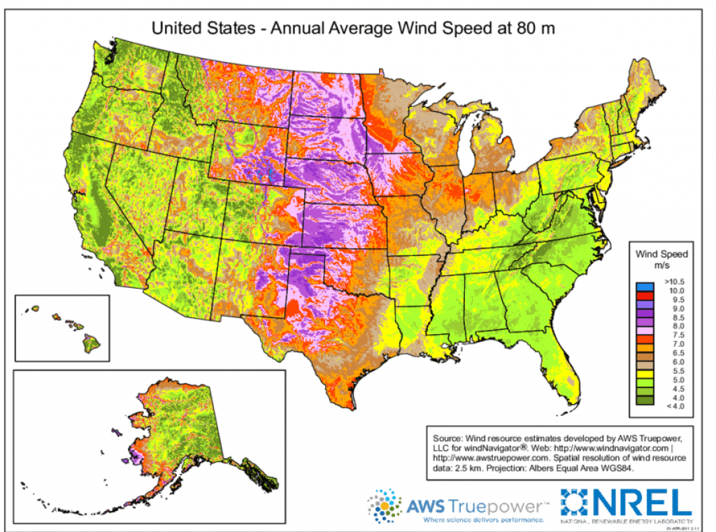 Wind Resource Map For The United States. The Great Plains Region Is within United States Resource Map