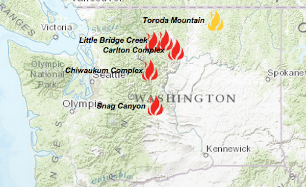 Winds Blowing Ellensburg-Area Wildfire Away From Homes | Knkx within Washington State Fire Map