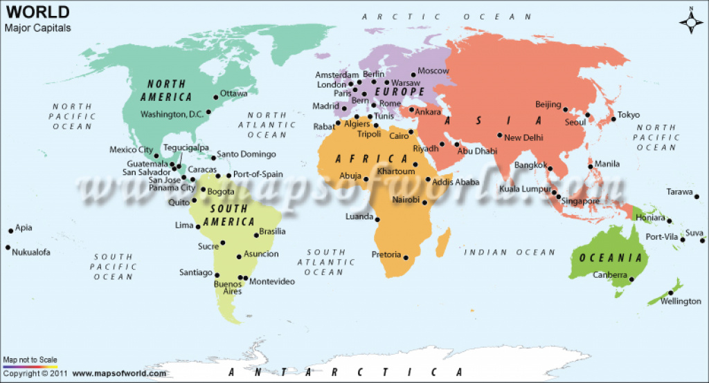 World Major Capitals within World Map With States And Capitals