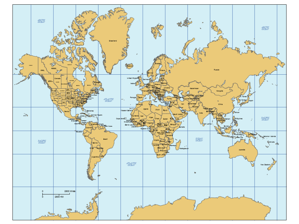 World Mercator Powerpoint Map, Europe Centered With Countries, Can regarding Map Of The World With Us States