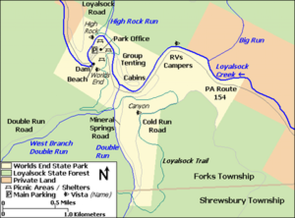 Worlds End State Park - Wikipedia throughout Rb Winter State Park Trail Map