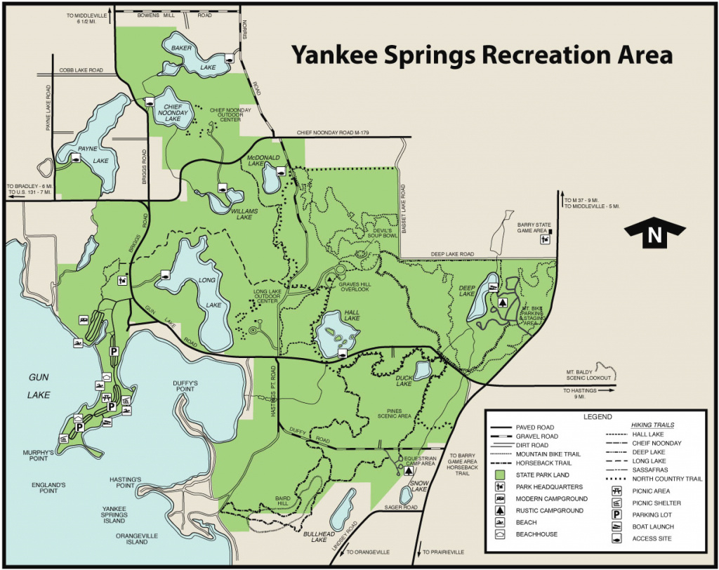 Yankee Springs State Recreation Areamaps & Area Guide - Shoreline within Allegan State Game Area Trail Map