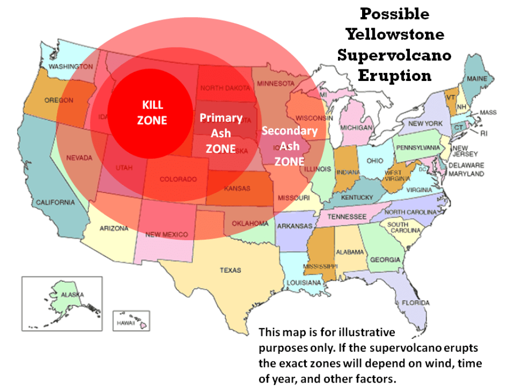 Yellowstone Eruption: Report Claims That Us Has Contingency Deal pertaining to If Yellowstone Erupts Which States Would Be Affected Map