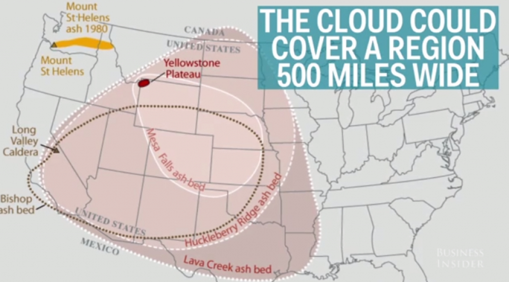 Yellowstone Supervolcano: What Would Happen If It Erupted - Business in If Yellowstone Erupts Which States Would Be Affected Map